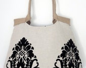 Damask shoulderbag , weekender hobo bag with burlap