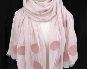 Handmade Scarf, Felt Scarf, Nunofelt Scarf, Scarf with Dots for Women and Men in Rosé, Black, Blue or Green