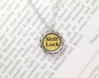 Typewriter Key Necklace With Shift Lock Key - Typewriter Key Jewelry From HauteKeys