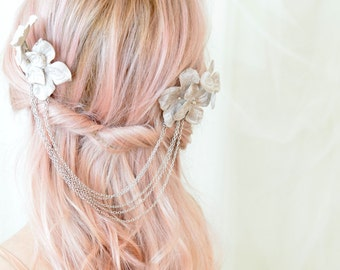 Bridal hair comb, floral hair combs, wedding head piece, silver flower hair accessory - Moonlight
