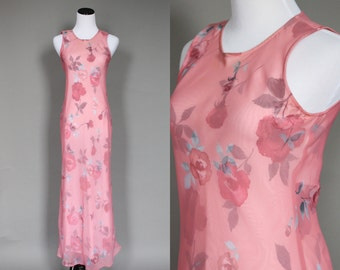 1990s Dress Vintage Sheer Floral Print 90s Bias Cut Maxi Dress Pink with Rose Print Small