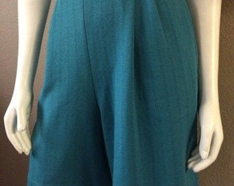 Vintage Women's 80's Shorts, Turquoise, High Waisted, Pleated (M/L)