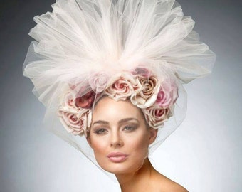 Couture Blush Headpiece, Avant garde hat, headband with roses, Tulle headpiece ,Spring fascinator