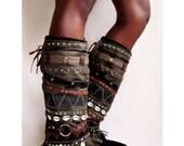 Aunty Entity-  Tribal Boot cuffs Psy Plur Steampunk