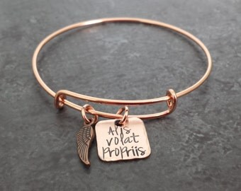 Alis Volat Propriis Bracelet - She flies with her own wings expandable copper bracelet