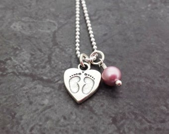 New Mom Necklace - Expectant Mother Baby Feet Heart Charm - Baby Shower Gift - Mommy to Be Necklace