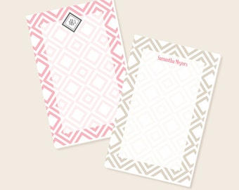 Personalized Notepad - Monogrammed Notepad - Diamonds