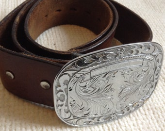 Leather Western Belt.  Justin size 36.   Large Buckle.  Rockabilly, Boho, Hippie.