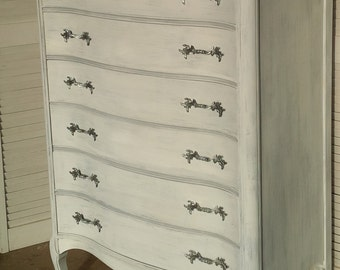 Dresser Bow Front French Provincial Highboy Shabby White Vintage Poppy Cottage Painted Furniture