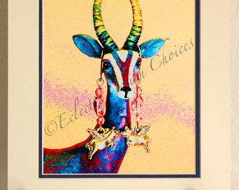 Psychedelic Gazelle Wearing Flying Pig Earrings Matted Photographic Art Print Your Choice of Sizes, Pop Art Matted Print, Whimsical Art
