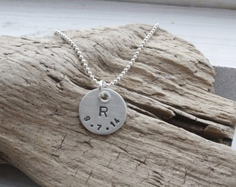 """5/8"""" initial and date riveted disc necklace, personalized jewelry, sterling monogram necklace, mommy jewelry, initial necklace"""