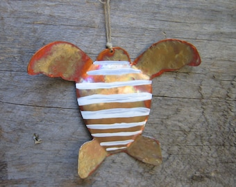 Sea Turtle, Ornament, Copper, Turtle, Rustic , Beach House, Hostess Gift, Swimmer, Diver, Surfer, Sea, Ocean, Seashore, Beach Art, Gift Tag