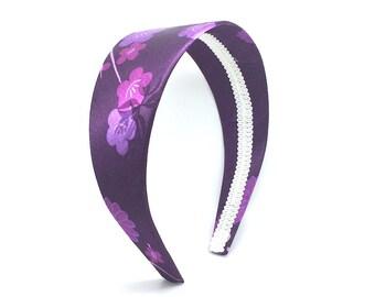 Purple Flowers Headband - Shades of Purple Satin Headband - Big Girl Headband, Adult Headband