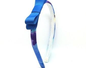 Floral Bow Headband - Little Girl Headband, Big Girl Headband - Flower Print Headband w/ Blue Bow - Colorful Skinny Headbands with Bows