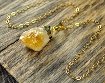 Citrine Necklace, Citrine Pendant, Citrine Gold Necklace, Raw Citrine Point Necklace, 14k Gold Fill Chain