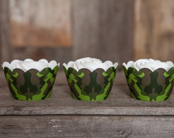 12 Green Camo Cupcake Wrappers - Green Army Theme Cupcake Wrappers - Great for Kids Birthday Parties - Green Camo Cupcake Wrappers
