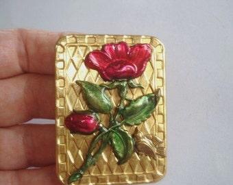 Flower Bird Brooch Ruby Emerald Gold Tone
