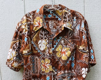 Barefoot in Paradise Mens Hawaiian Cabana Cotton Shirt size XL 1960s VINTAGE by Plantdreaming