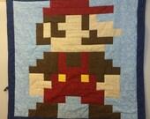 Lil Geek MARIO Crib Quilt, Classic Colors