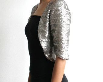 Silver Sequin Bolero, Wedding Coverup, Cropped Bolero, Vintage Style, Sparkle, New Years, Party, Formal, Bridesmaids Gift, Gold - SALLY