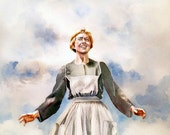 The Sound of Music, Maria, Watercolor Portrait, print from original watercolor painting, The Hills Are Alive! Julie Andrews