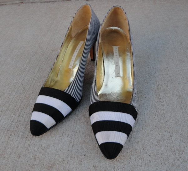 perry ellis shoes black and white striped high heels