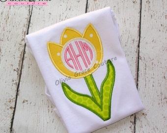 Girls Monogram Tulip Shirt, Monogram Easter Shirt, Springtime Shirt, Embroidered Applique Shirt or Bodysuit