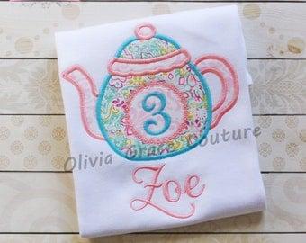 Girls Birthday Shirt, Tea Party Shirt, Tea Birthday Shirt, Embroidered Applique Shirt or Bodysuit, 1st, 2nd, 3rd, 4th, 5th, 7th birthday