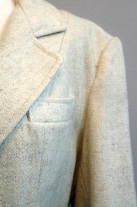 Vintage 50's Ivory Wool Blazer / Jacket / Coat
