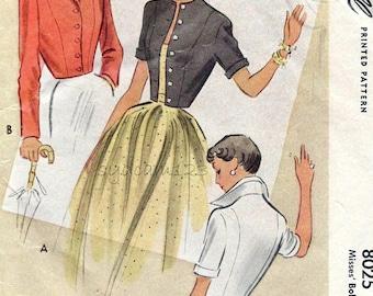 Vintage 1950s Pattern Tailored Jacket Bolero Shaped Back Hem Wing Collar or Collarless McCalls 8025 Bust 30