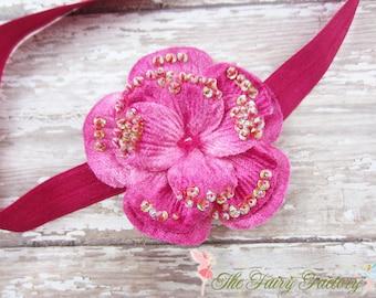 Hot Pink Flower Headband, Velvety Flower w/ Sequins & Beads Headband or Hair Clip, Infant Headband, Newborn, Baby Child Girls Headband