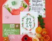 Tropical Coral + Green Watercolor Wedding Invitation Suite - Calligraphy / Floral Design - Customizable