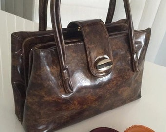 Vintage Tortoise Colored Patent Handbag 1960's -- Retro -- Rockabilly