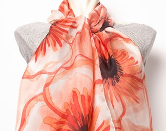 Mother Day Presen Gift Elegant Hand Painted Silk Scarf with Red Orange Black Flowers Anemone Poppies