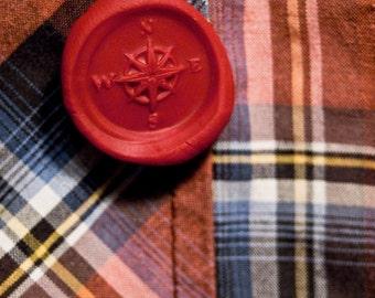 compass rose wax seal lapel pin