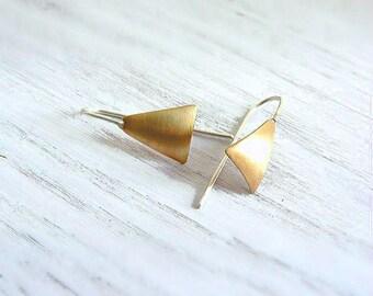 Triangle hoop earrings gold brass and sterling silver, dangle earrings, geometric jewelry