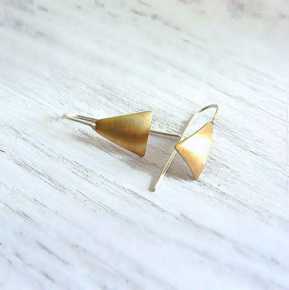 Triangle hoop earrings gold brass and sterling silver, dangle earrings, geometric jewelry