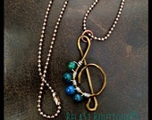 Sale! Treble Clef Necklace with Blue/Green Bead Accent & Chain
