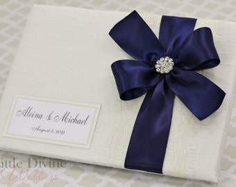 Wedding Guest Book Ivory Navy Blue Custom Made in your Colors