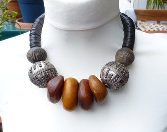 Spectacular Yemen Bedouin silver tribal ethnic necklace,  signed silver globes and antique camel bone beads