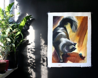 Nimbus with a Ball 1- Original Large Cat Watercolor Painting