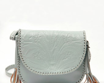 Piñata Pastel Green. Tooled Leather purse