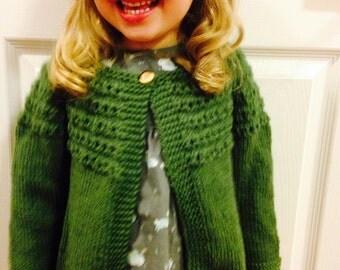 Baby Cardigan Wool Sweater, Sweater Size 6 mth - Size 1, Child Wool Sweater, Baby Knit Sweater, Baby Green Sweater, Toddler Yellow Sweater