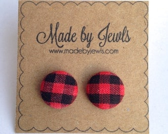 Fabric Button Earrings - Red Buffalo Plaid - Buy 3, get 1 FREE