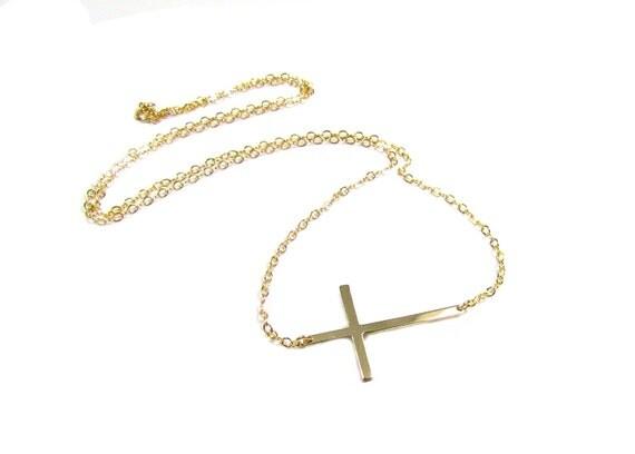 Selena Gomez Sideways Cross Necklace, Gold Filled, Celebrity Inspired