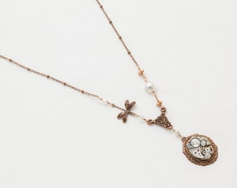 Steampunk Necklace Vintage silver watch movement with genuine pearls Victorian dragonfly copper pendant wedding Statement necklace Gift