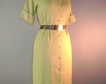 1950s 60s vintage dress 50s 1960s SHINY GOLD DETAIL Wheat tan beige hourglass dress