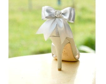 Wedding Bridal Shoe Clips. Silver Gray Satin Bows. Wedding Bride Bridesmaid Shoe Clip. MORE Colors Available. Best Seller Women Shoe Clips