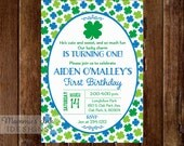 Blue and Green Shamrock Birthday Invitation, Shamrock Invitation, St Patrick's Day Invitation, St Patty's Day, 4 leaf Clover Invitation