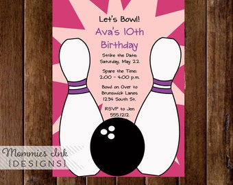 Bowling Party Invitation - Pink or Blue - PRINTABLE INVITATION DESIGN